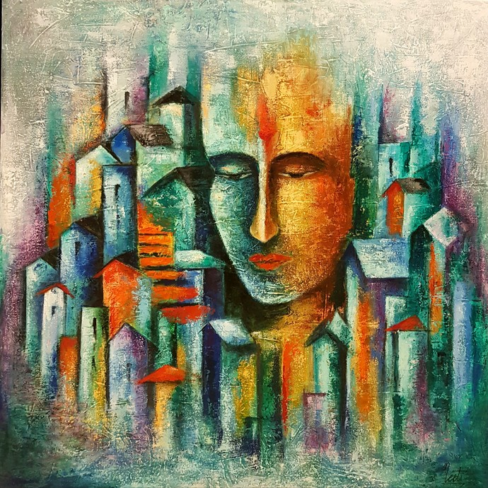 Mystic Duality by Neeti Aggarwal, Expressionism Painting, Mixed Media on Canvas, Lemon Grass color