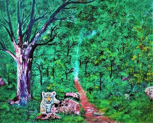 Tiger cub in the wild by Sujata Joshi, Expressionism Painting, Acrylic on Canvas, Forest Green color