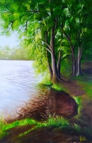 Lake in morning by Kumar Ranadive, Expressionism Painting, Oil & Acrylic on Canvas, Mallard color