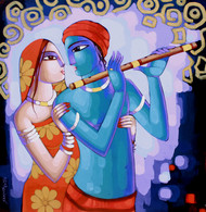 Romantic Couple by Sekhar Roy, Decorative Painting, Acrylic on Canvas, Chatelle color