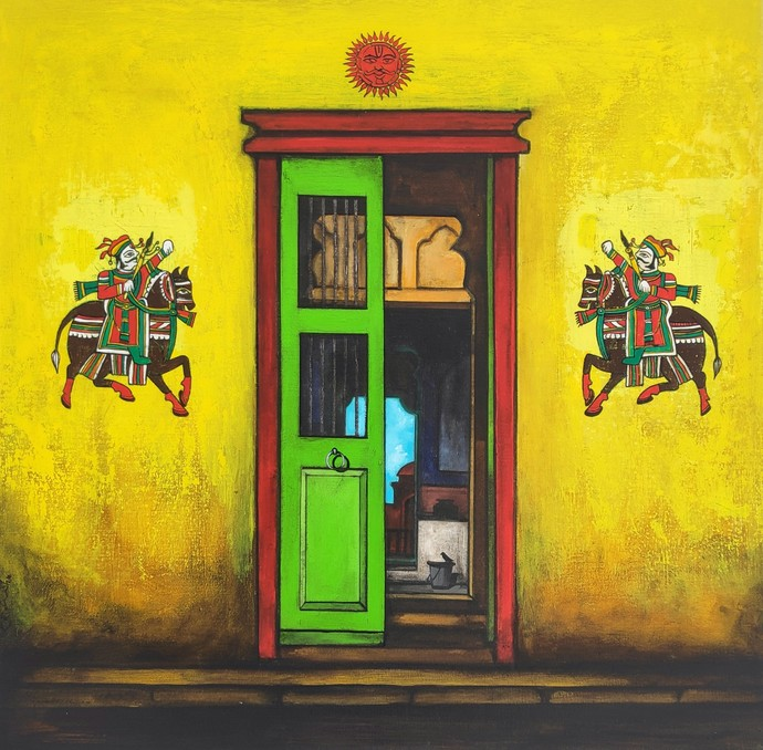 Door by K R Santhanakrishnan, Expressionism Painting, Acrylic on Canvas, Sunflower color