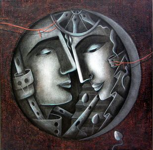 Invisible Bond by Neeti Aggarwal, Expressionism Painting, Mixed Media on Canvas, Thunder color