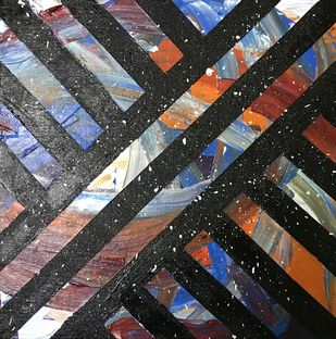 Misterio - Abstract Art by Nitin Rai, Abstract Painting, Acrylic on Canvas, Mine Shaft color