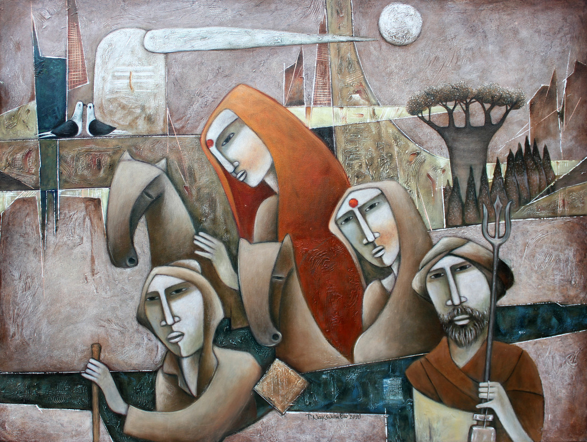 The Journey-5 by NAGESWARA RAO, Expressionism Painting, Oil on Canvas, Gray color