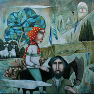 The Journey-7 by NAGESWARA RAO, Expressionism Painting, Oil on Canvas, Steel Teal color