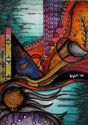 Recoup set of 2 paintings by Anjali Surana, Expressionism Painting, Acrylic & Ink on Paper, Chocolate color