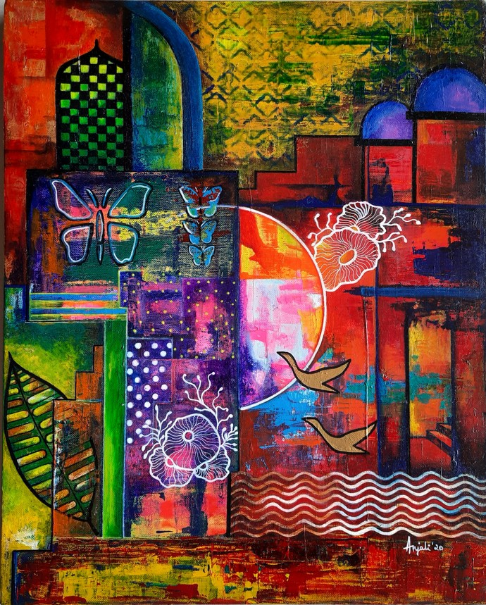 Progression by Anjali Surana, Pop Art Painting, Acrylic on Canvas, Raw Sienna color