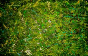 Forest Abstracts by Roshni Tosher H, Abstract Painting, Acrylic on Canvas, Green Leaf color