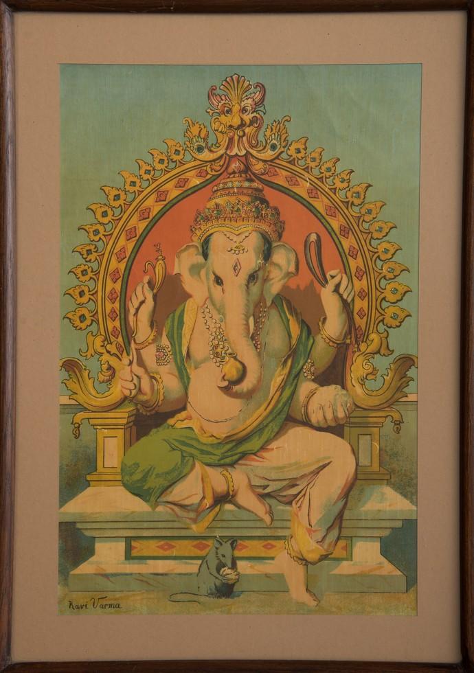 Ganapati(1/1) by Raja Ravi Varma, Traditional Printmaking, Lithography on Paper, Dirt color