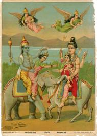 Harihar Bhet(1/1) by Raja Ravi Varma, Traditional Printmaking, Lithography on Paper,