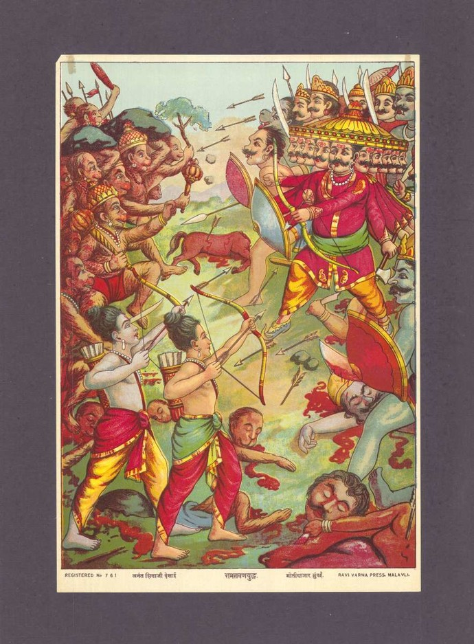 Raamravan Yudh(1/1) by Raja Ravi Varma, Traditional Printmaking, Lithography on Paper, Ferra color