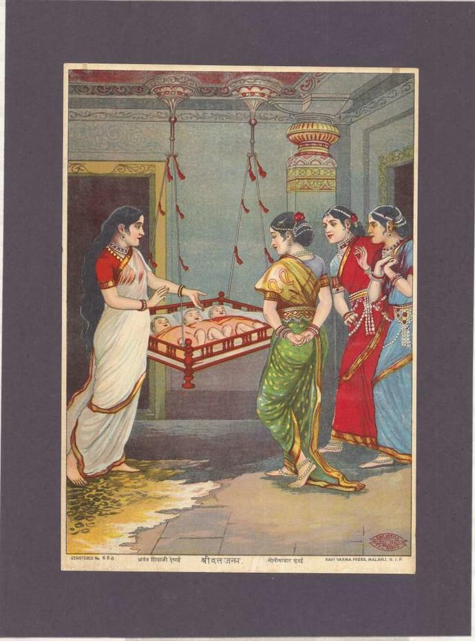 Shree Datt Janna(1/1) by Raja Ravi Varma, Expressionism Printmaking, Lithography on Paper, Zambezi color