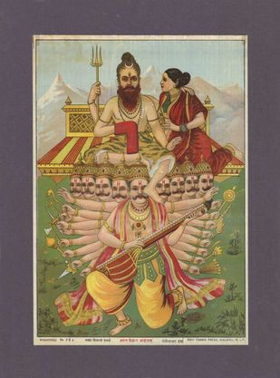 Ravan Kailash Andolan(1/1) by Raja Ravi Varma, Abstract, Traditional Printmaking, Lithography on Paper, Dorado color
