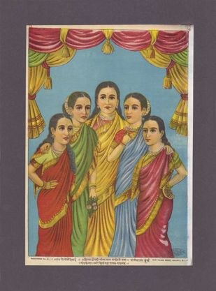 Panchakanya(1/1) by Raja Ravi Varma, Traditional Printmaking, Lithography on Paper, Zambezi color