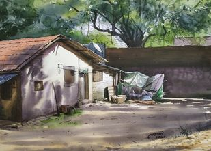 'Morning Glory' by Niketan Bhalerao, Impressionism Painting, Watercolor on Paper,