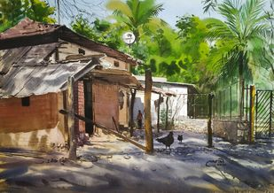 'The Beauty Of Shadows' by Niketan Bhalerao, Impressionism Painting, Watercolor on Paper, Tuatara color