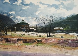 'The Beauty Of Himachal ' by Niketan Bhalerao, Impressionism Painting, Watercolor on Paper,