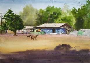 'Rural Beauty' by Niketan Bhalerao, Impressionism Painting, Watercolor on Paper, Kelp color