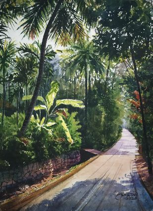 'Beauty Of Konkan' by Niketan Bhalerao, Realism Painting, Watercolor on Paper, Armadillo color
