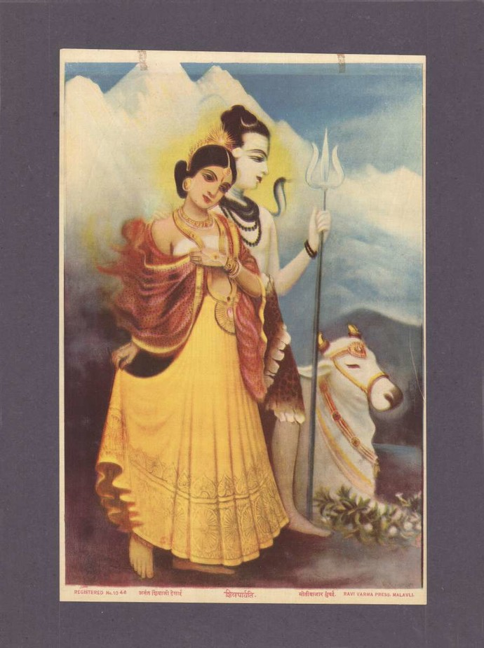 Shivparvati(1/1) by Raja Ravi Varma, Traditional Printmaking, Lithography on Paper, Zambezi color