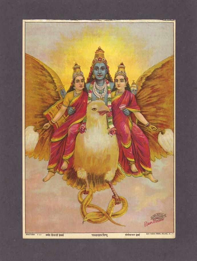 Garudvahan vishnu(1/1) by Raja Ravi Varma, Traditional Printmaking, Lithography on Paper, Ferra color