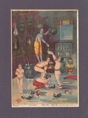 Makhan chori(1/1) by Raja Ravi Varma, Traditional Printmaking, Lithography on Paper, Zambezi color
