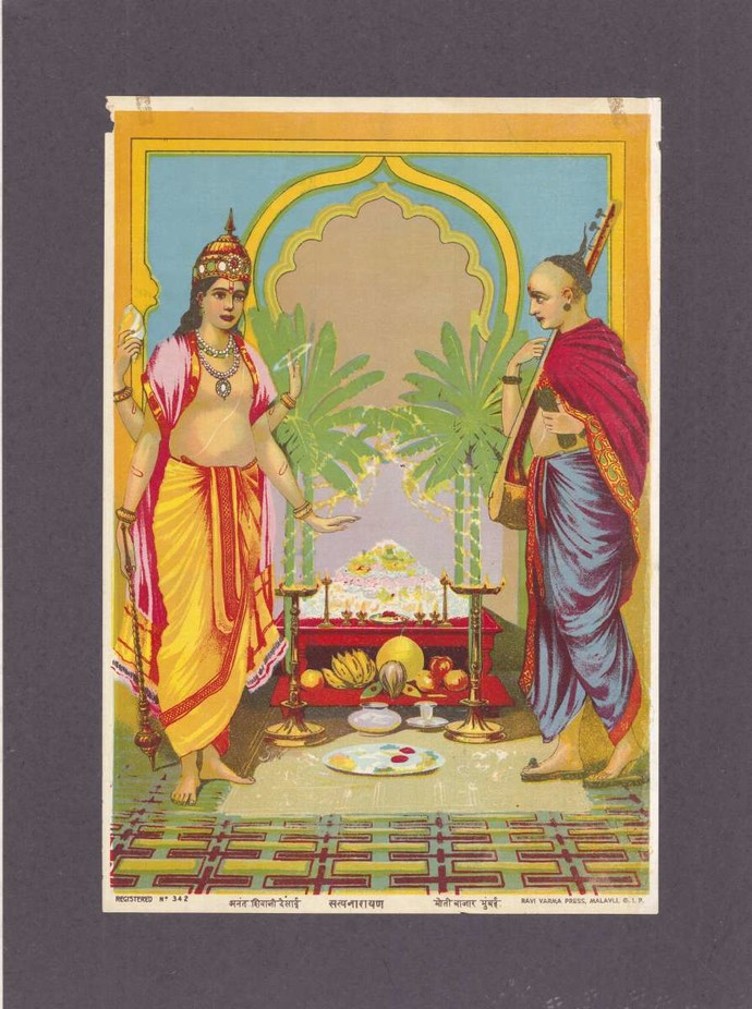 Satyanarayana(1/1) by Raja Ravi Varma, Traditional Printmaking, Lithography on Paper, Zambezi color