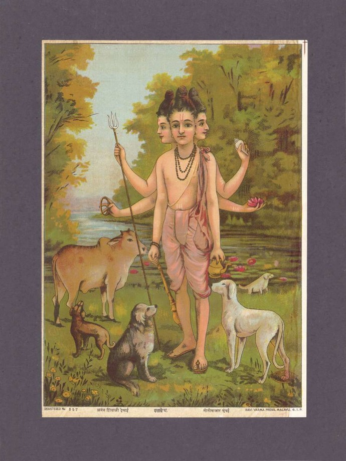 Duttatre(1/1) by Raja Ravi Varma, Traditional Printmaking, Lithography on Paper, Pine Cone color