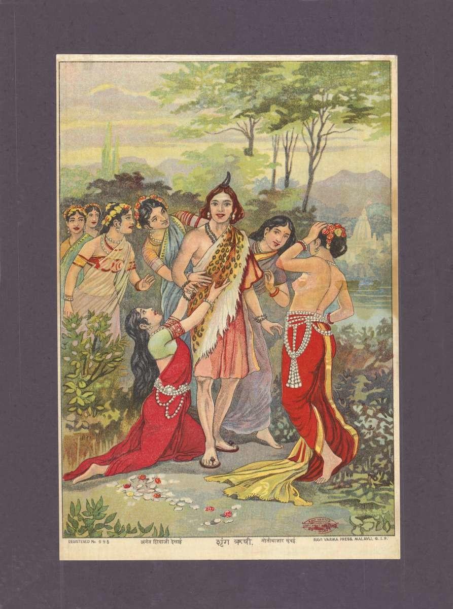 Shrung Rushi(1/1) by Raja Ravi Varma, Traditional Printmaking, Lithography on Paper, Dorado color