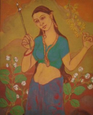 Lady with Flower by Anita Tanwar, Traditional Painting, Oil on Canvas, Mule Fawn color