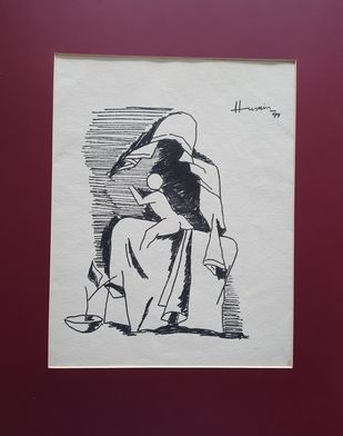 Mother and child by M F Husain, Illustration Drawing, Ink on Paper, Livid Brown color