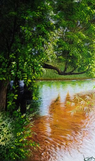Forest lake by Kumar Ranadive, Photorealism Painting, Acrylic on Canvas, Seaweed color