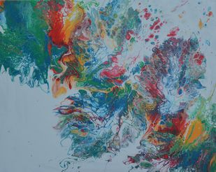 warm waves in the sea by Rekha Chaudhari, Abstract Painting, Acrylic & Ink on Canvas, Bali Hai color