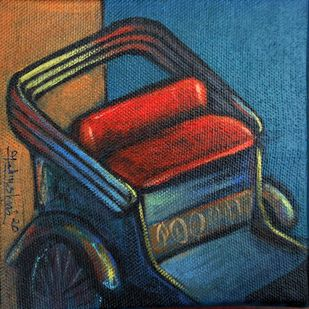 IN MEMORIES by Ram Kumar Maheshwari, Expressionism Painting, Acrylic on Canvas, Oxford Blue color
