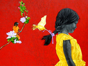 Preshita by Deepali S, Expressionism Painting, Oil & Acrylic on Canvas, Heavy Metal color