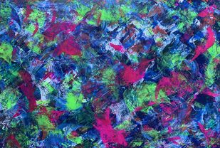 TEMPEST by Seema Kaushik, Abstract Painting, Acrylic on Paper, Crocodile color