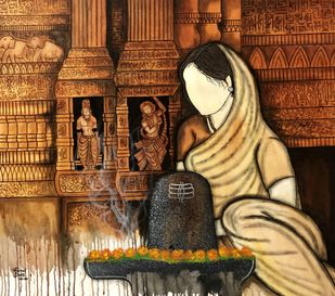 Shivam by Mrinal Dutt, Traditional Painting, Acrylic on Canvas, Mule Fawn color