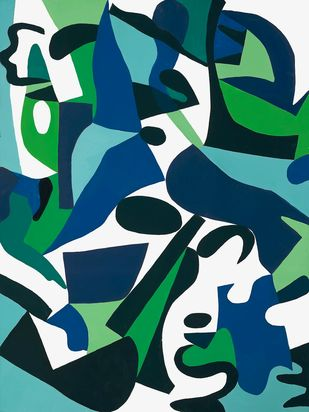 Green in Blue by Laurie Raskin, Geometrical Painting, Mixed Media on Paper, Tiber color