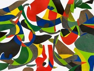 Birdland by Laurie Raskin, Geometrical Painting, Paint on paper , Leather Jacket color