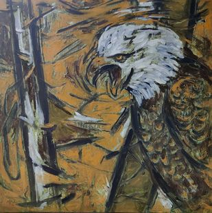 Untitled - 119 by Santoshkumar R. Patil, Expressionism Painting, Oil on Canvas, Soya Bean color