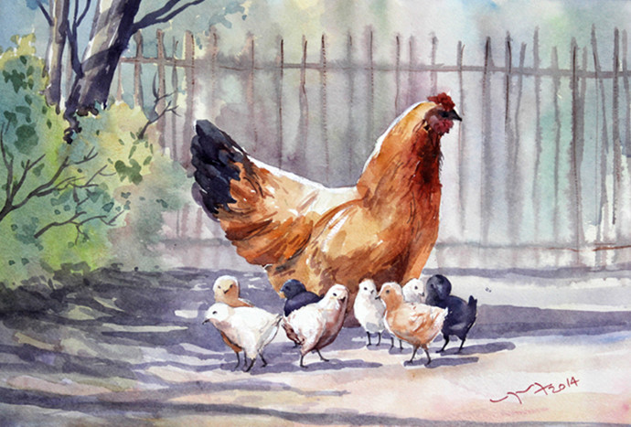 Chicks with Hen in Poultry by Balakrishnan S, Impressionism Painting, Watercolor Wash on Paper, Cotton Seed color