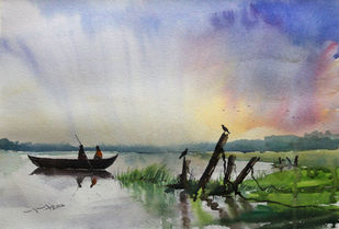 Village Lake and crow by Balakrishnan S, Impressionism Painting, Watercolor on Paper, Shady Lady color