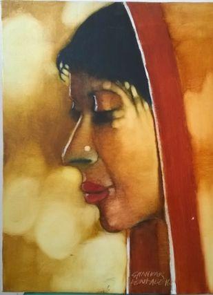 Village woman by SHANKAR KENDALE, Traditional Painting, Oil on Canvas, Metallic Sunburst color