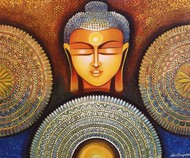BUDDHA - PEACE BEGINS WITH ACCEPTANCE by NITU CHHAJER, Traditional Painting, Acrylic on Canvas, Old Copper color