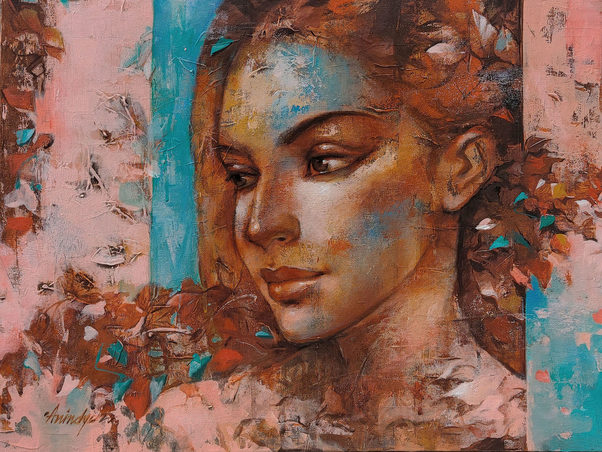 expression series by Anindya Mukherjee, Expressionism Painting, Acrylic on Canvas, Beaver color