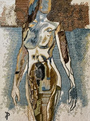 Nude Aesthetics | PB/NA-27 by Puja Bhakoo, Expressionism Textile, Stitching on Cloth , Nomad color
