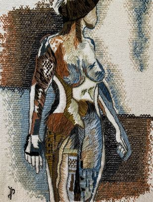 Nude Aesthetics | PB/NA-28 by Puja Bhakoo, Expressionism Textile, Stitching on Cloth , Taupe color