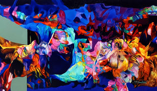 Colour of the Universe XXIX by Sumitava Maity, Abstract Painting, Oil on Canvas, Cedar Chest color