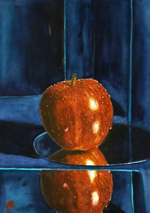 Apple On Glass Table by Sabari Girish T, Photorealism Painting, Watercolor on Paper, Desert color