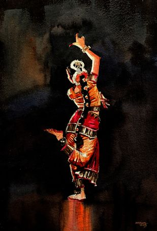 Dancer 8 by Mopasang Valath, Realism Painting, Watercolor on Paper, Licorice color